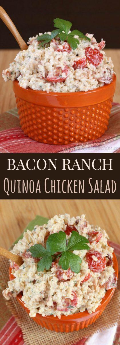 Bacon Ranch Quinoa Chicken Salad - comfort food flavors in an easy, make-ahead recipe made healthier with Greek yogurt   cupcakesandkalechips.com   gluten free