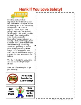 Science Safety Rules and Bumper Sticker Activity - Make a bumper sticker for science safety! $