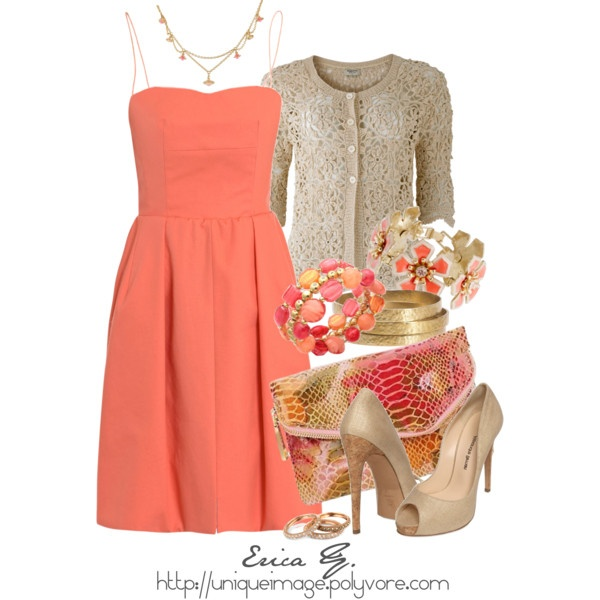 Coral Dress, created by uniqueimage on Polyvore - Best 25+ Coral Dress Outfits Ideas On Pinterest Coral Dress