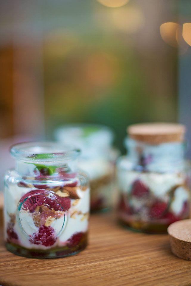 Healthy muesli and yoghurt pots.