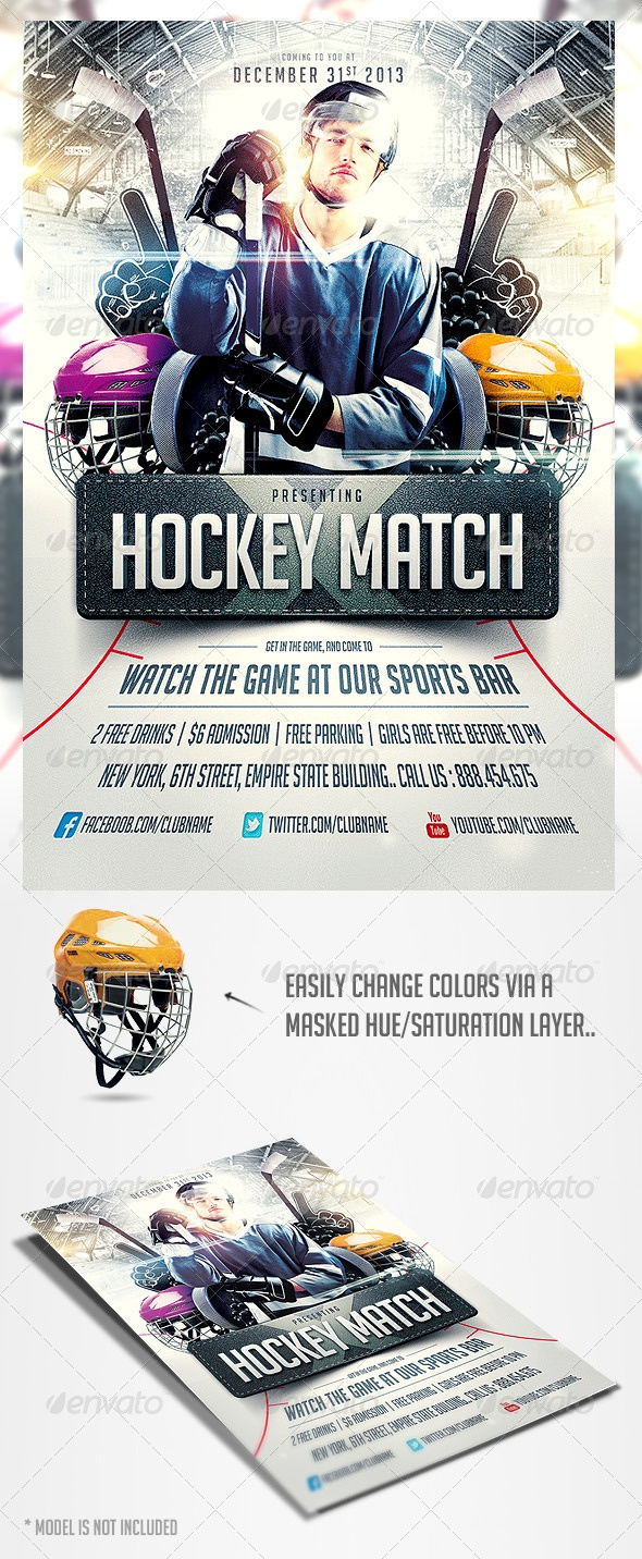 hockey match flyer template flyer template hockey and flyers. Black Bedroom Furniture Sets. Home Design Ideas