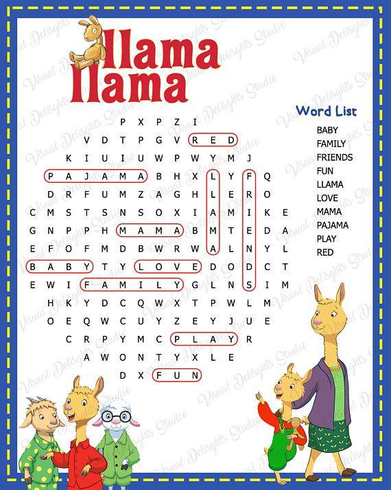 Llama Llama Red Pajama Word Search Red Pajamas Llama Llama Red