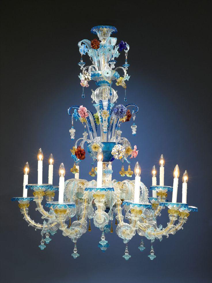 Antique Glass, Venetian Glass, Murano Glass Chandelier ~ M.S. Rau Antiques