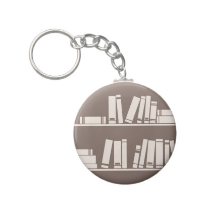 Books on the shelf for reading lover or wise guy key chains
