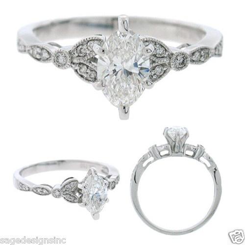 14kt White Gold Round Marquise Cut Diamond Semi Mount Setting Engagement Ring | eBay