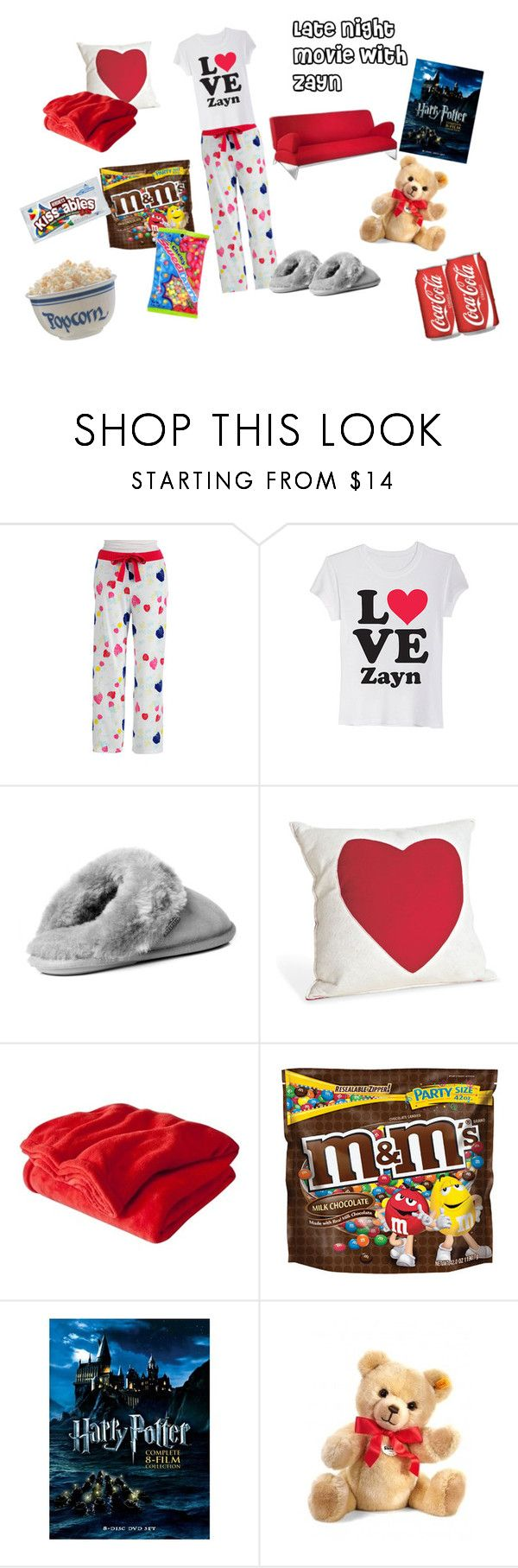 """Late Night Movie with Zayn"" by chickenncheese ❤ liked on Polyvore featuring Lord & Taylor, Just Sheepskin, Room Essentials, Hershey's, zayn malik, naf naf, pajamas and one directin"