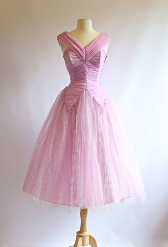 1950s Prom Dress Vintage 50s Lilac Party Dress by xtabayvintage