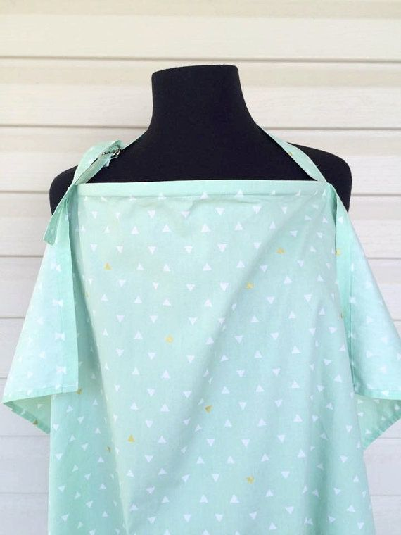 Mint with Gold Triangles Chevon Nursing by TinyNoseLittleToes