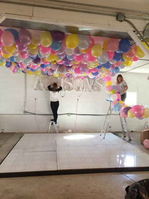 balloon ceiling party ideas