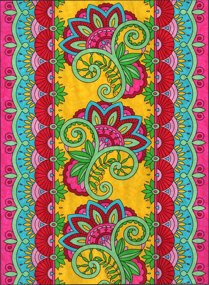 from the Mehndi Designs coloring book by Dover (colored by Michele Hauf)