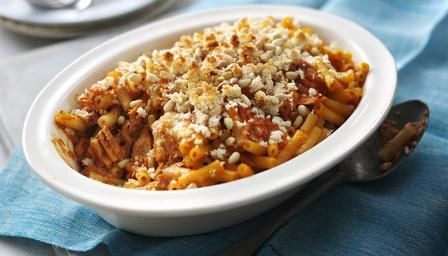 Tinned salmon makes this tasty pasta bake recipe economical as well as easy.