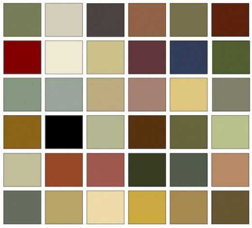 The Arts & Crafts Color Are Taken From Nature > Earthtones including Ochre, Madder red, Hunter & Olive greens and the blue, gray, and beige shades of Stone / HP