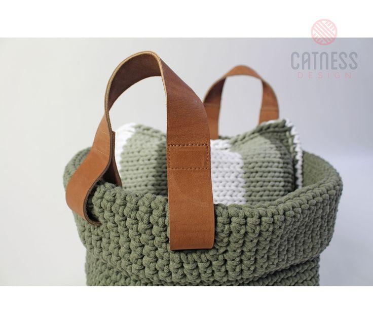 Hand-crocheted basket. Green crocheted basket.