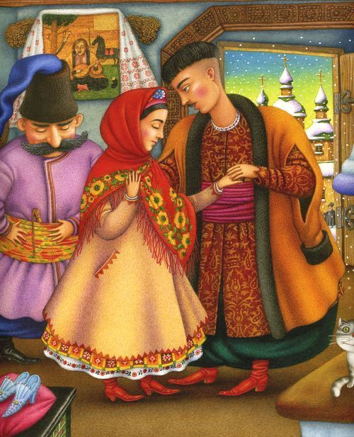 A Ukrainian storybook illustration of a Cossack couple in love