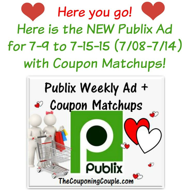 Publix Ad With Coupon Matchups for 7-9 to 7-15-15 (7/08-7/14)    Publix Ad With Coupon Matchups for 7-9 to 7-15-15 (7/08-7/14)  [adrotate banner = '51']Here is the Publix Ad with coupon matchups for 7-9 to 7-15-15 (or 7/08-7/14 for those whose ad begins on Wednesdays). The current Publix Purple Health-Beauty Advantage Buy Flyer and Green Grocery...  Click the link below to get all of the details ► http://www.thecouponingcouple.com/publix-ad-with-coupon-match