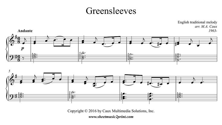 Greensleeves - Piano