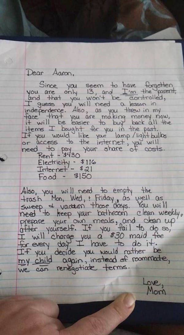 Mom Writes Son A Note About His Strict Punishment—Then Accidentally Makes It Public On Facebook