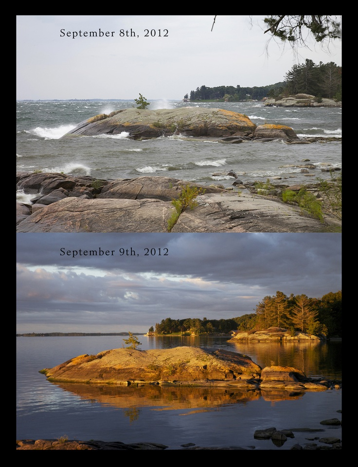 Two of Raleigh Island's (OneinaThousand.ca) moods, 15 hours apart.