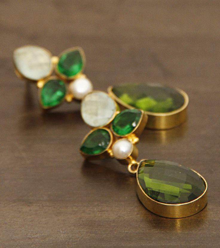 Green Embellished German Silver Earrings