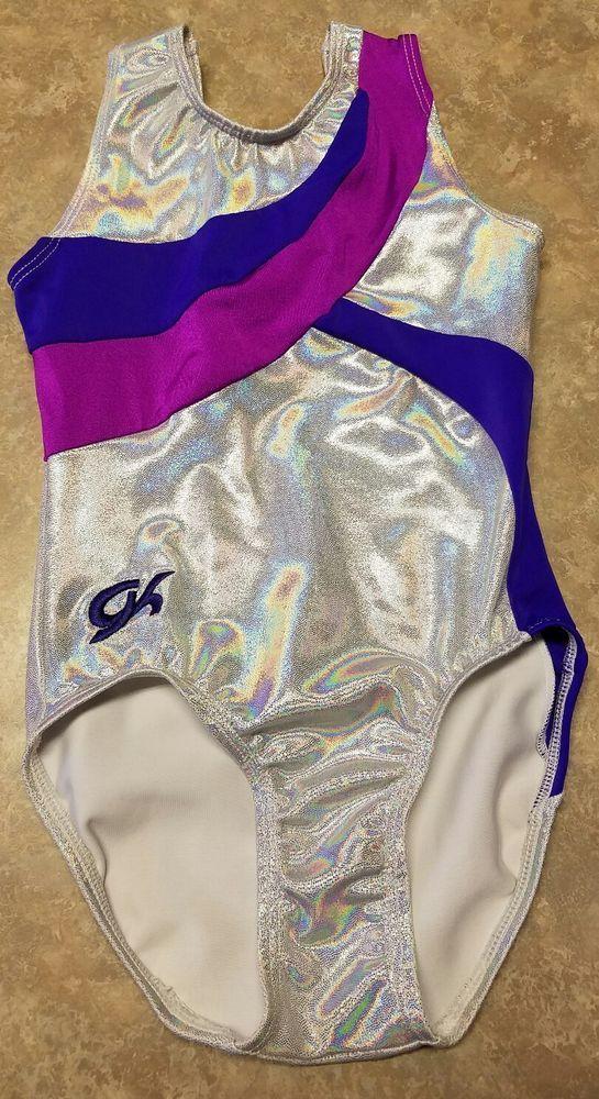 GK Elite Gymnastics Leotard Iridescent Pearl Purple WORN ONCE child medium CM  #GKElite