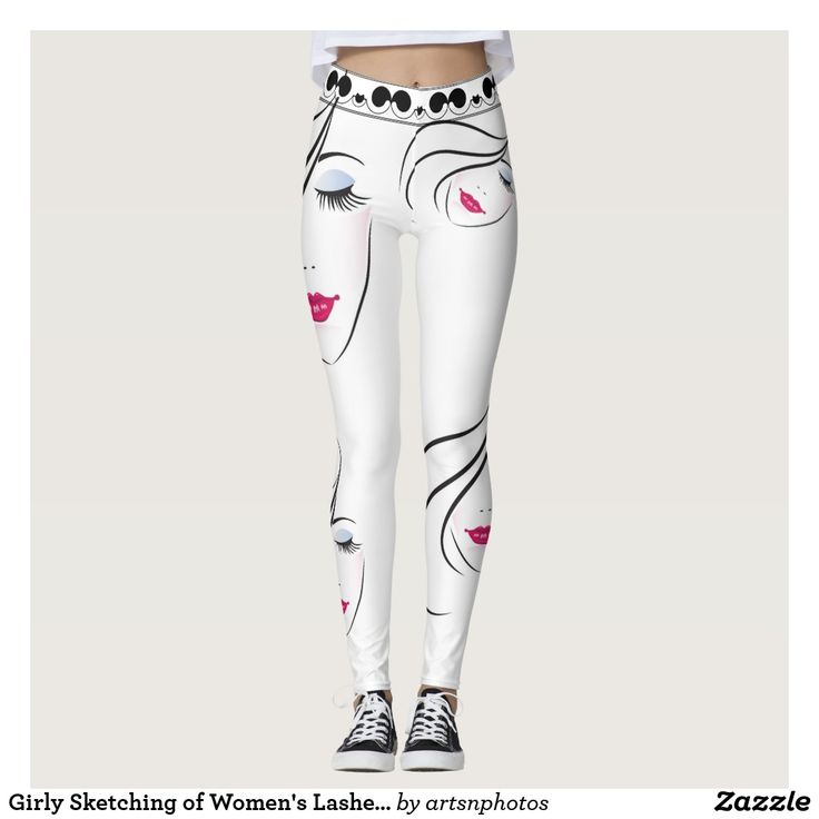 Girly Sketching of Women's Lashes and Red Lips  http://www.zazzle.com/artzdizigns?rf=238365382999242687* #leggings #GirlySketching #WomensFace #EyeLashes #YogaPants #zazzle #zazzlemade