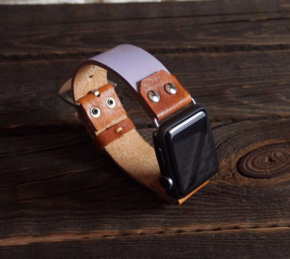 Women LILAC  Apple Watch Band Strap 38mm / Vintage - Oldschool - Rustic Style…