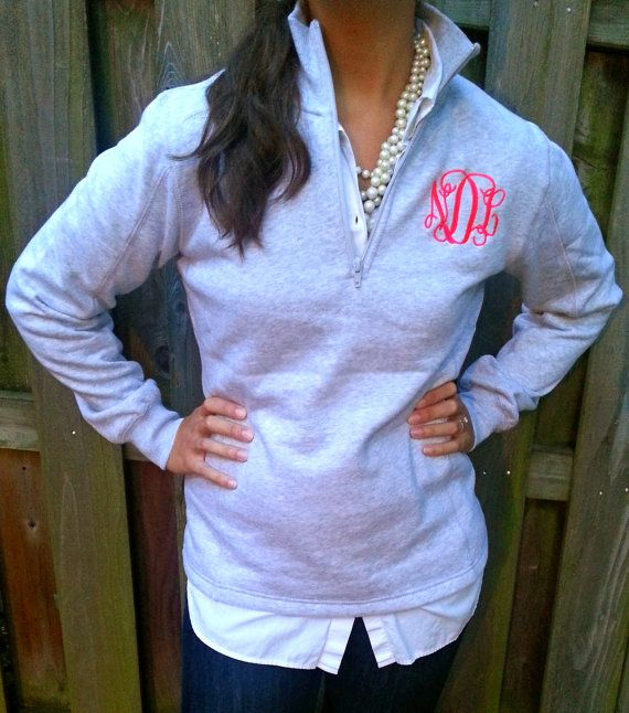 Hey, I found this really awesome Etsy listing at http://www.etsy.com/listing/124652762/ladies-quarter-zip-monogram-pullover
