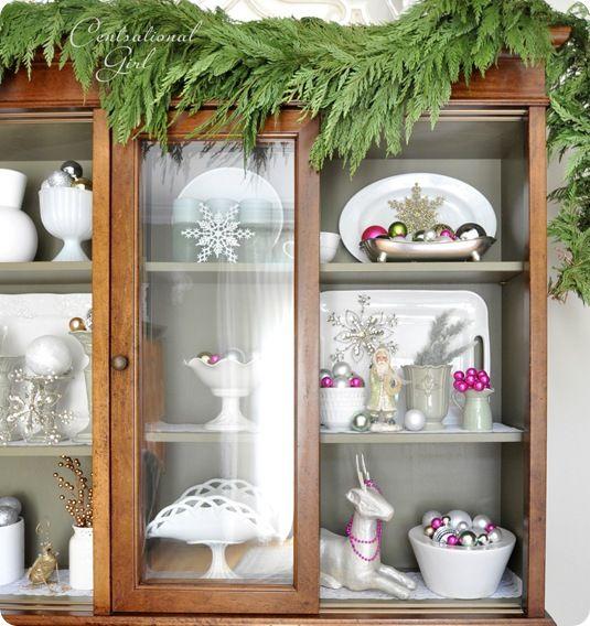 Christmas: China Cabinets Decoration, Christmas Good Idea, Christmas Hutch, Christmas Decoration, Looks Christmas Color, Fresh Garlands Christmas, White Green Pink Christmas,  China Closet, Beauty Garlands