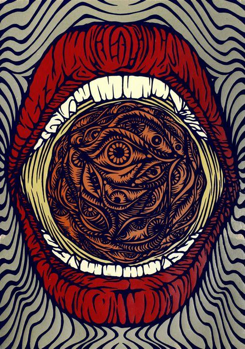 drawing Illustration art trippy eyes crazy lips mouth cowabungaaaaaaa