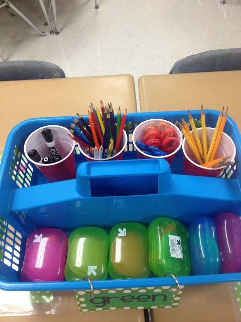 Classroom organization - Caddy to hold materials for a group