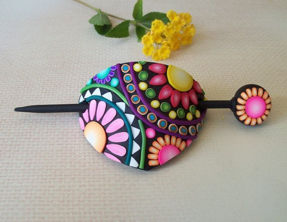 Polymer Clay Hair Slide Barrette  hair by FlowertownOriginals, $15.00