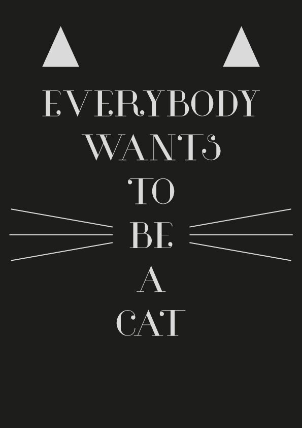 Cat, The Aristocats, Quote, poster, typography