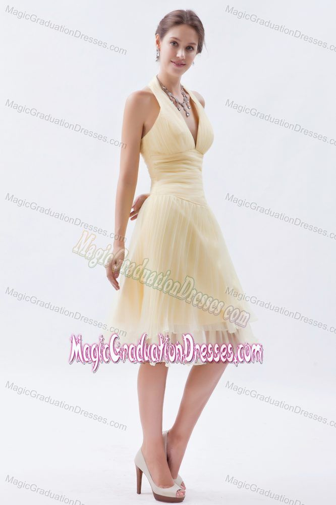 Cool Back Halter Organza Champagne Middle School Graduation Dress