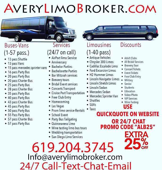 """25% off rate sheet  LIMOS / PARTY BUSES / SHUTTLES / SEDANS  For Any occasion  USE PROMO CODE """"spring25"""" In the quick quote at https://averylimobroker.com/ San Diego limo service, party bus rentals. wine tours, brewery tours, weddings, prom, airport shuttles, concerts, nightlife and more. #sandiegolimoservice #limossd #limosd #partybussd #sandiegopartybus #sandiegolimoservices #sandiegolimos #averylimobroker #sdlimos #sdpartybus #sdlimobuses #winetoursd #brewerytoursd #ballastpoint…"""