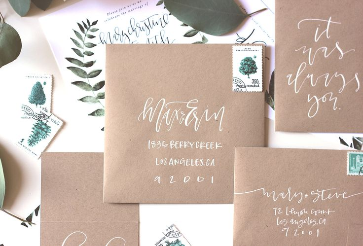 white on kraft // Calligraphy envelope addressing | A Fabulous Fete