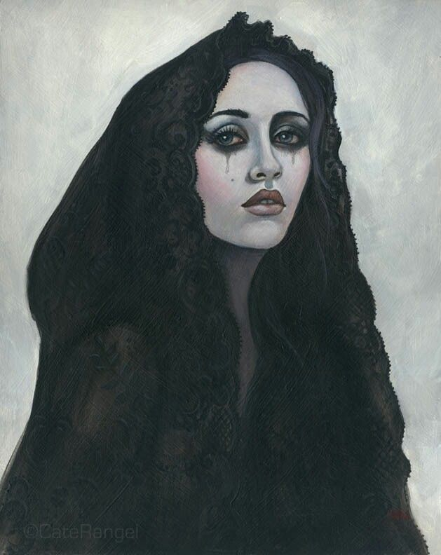 La Llorona. I love the way she looks like Our Lady of Sorrows...La Dolorosa.