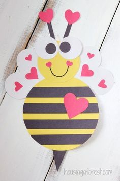"""""""Bee"""" Mine! Cute valentine craft for kiddos. Could even be part of a valentine card! February is almost here!"""