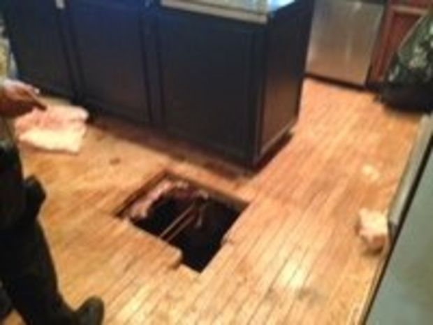 Detectives belly crawl under the home in pursuit of suspected robber, get stuck there with him