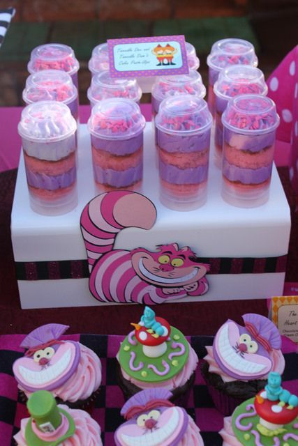Push up pops and cupcakes at a Alice in Wonderland Party | Disney Party Ideas | Disney Party Theme | Disney Party Food | Disney Party Decorations |