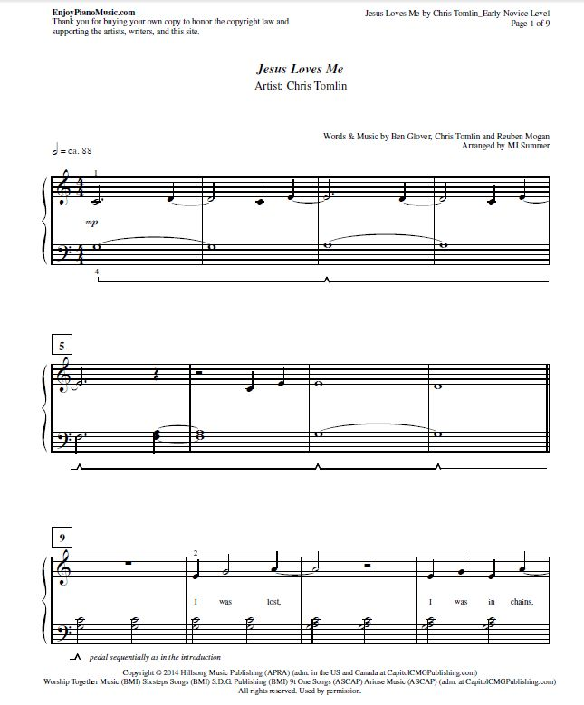 Jesus Loves Me By Chris Tomlin Sheet Music For Easy Piano