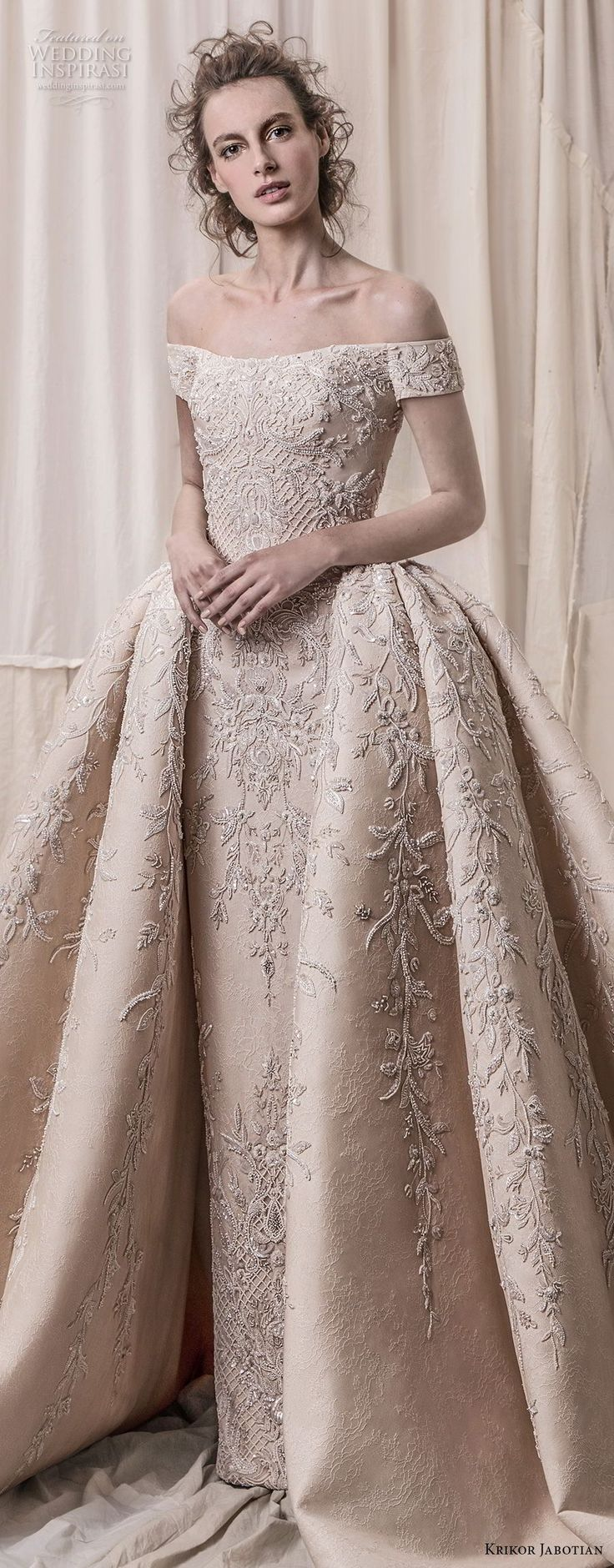krikor jabotian spring 2018 bridal off the shoulder straight across neck full embellishment champagne gold princess ball gown a  line wedding dress royal train (06) lv -- Krikor Jabotian Spring 2018 Wedding Dresses
