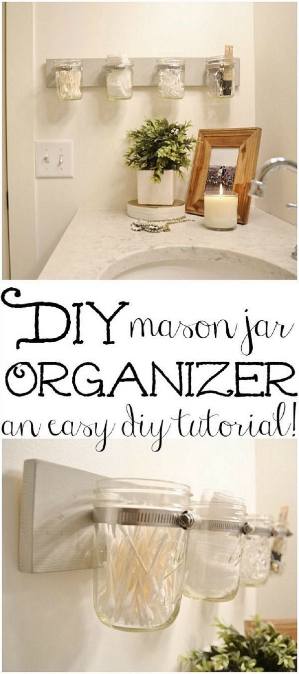 These DIY mason jar holders make great storage for small stuff in the bathroom. http://hative.com/clever-bathroom-storage-ideas/