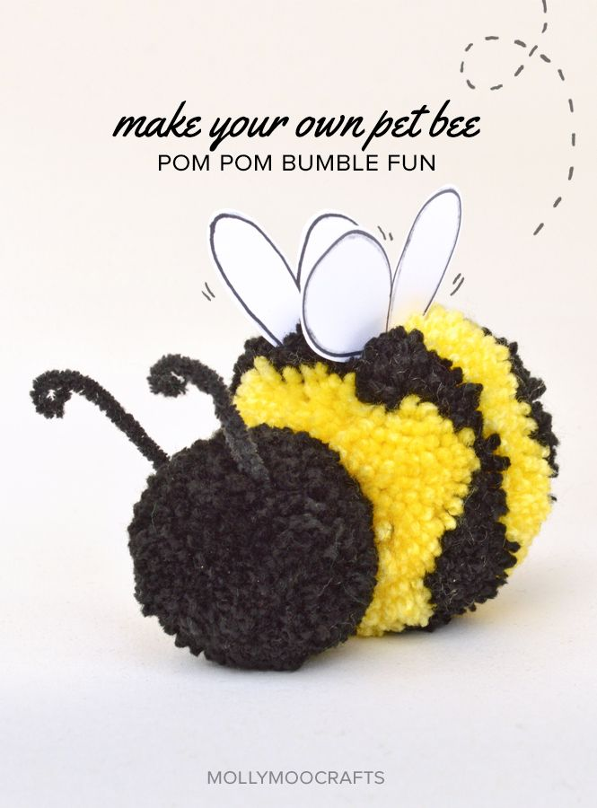 MollyMoo – crafts for kids and their parents Cute Pom Pom Craft - How to make a pom pom bee