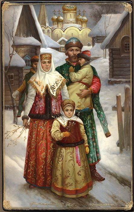 "Russian lacquer miniature from the village of Fedoskino. ""Palm Sunday"" 2010 by Shavyrin Boris"