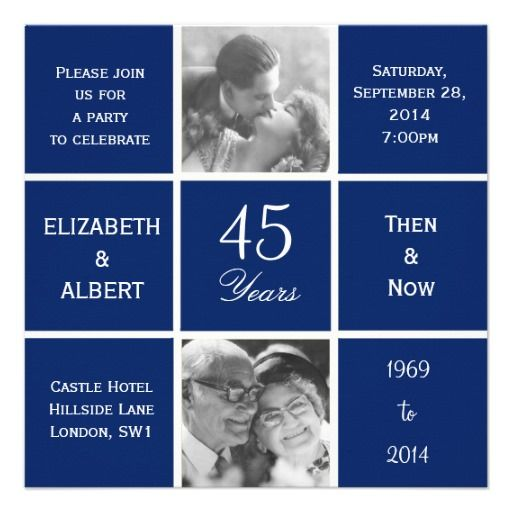 Modern Squares Shire 45th Wedding Anniversary Invitations Forty