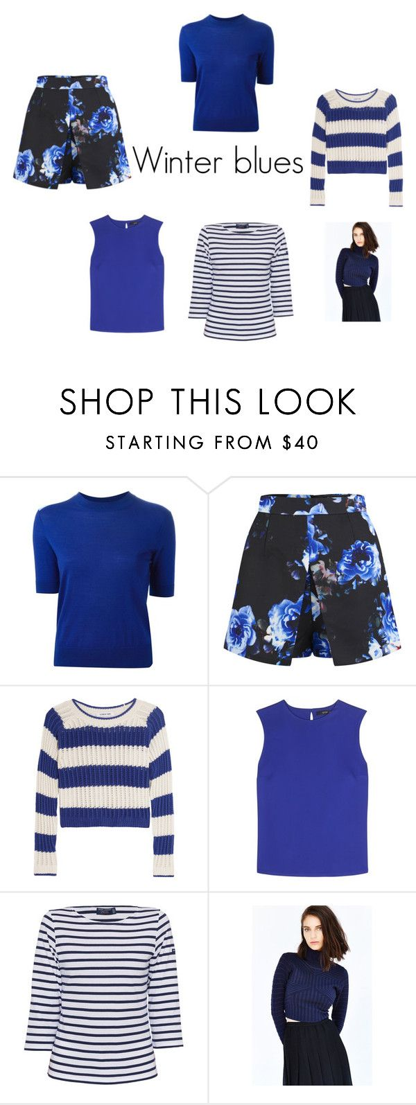 Winter blues by fargeporten on Polyvore featuring Saint James, Marc by Marc Jacobs, Etro, Elizabeth and James, Glamorous and Girls On Film