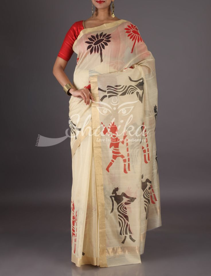 Tejal Pristine Off White With Lace Border Tribal Figurines Chanderi Block Printed Saree