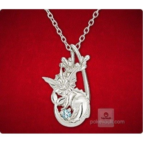 Pokemon Center 2015 Vaporeon Water Drop Pendant Necklace With Aquamarine Stone PRE-ORDER AUGUST 2015