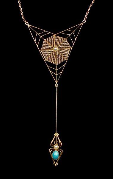 Murle Bennett Art Nouveau spider web necklace, ca. 1900