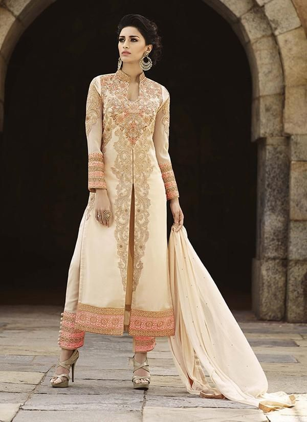 Cream Georgette Straight Salwar Kameez